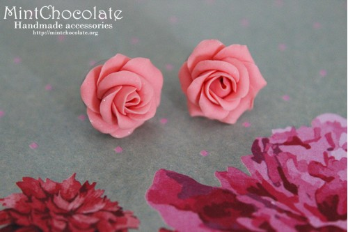 Coral roses earrings